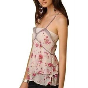 Free people floral ruffle racer back tank blouse 4